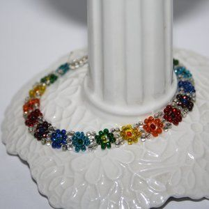 "Beautiful rainbow beaded flower bracelet 6.5-7"""